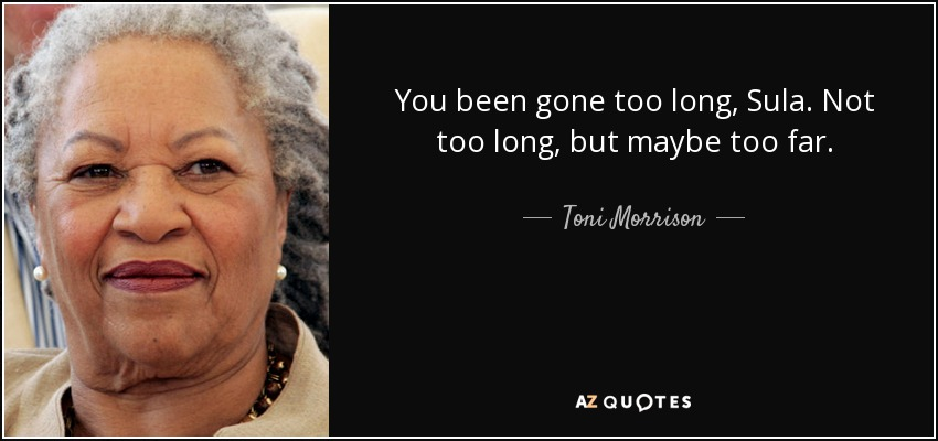 You been gone too long, Sula. Not too long, but maybe too far. - Toni Morrison
