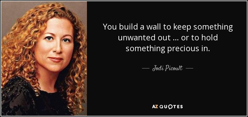 You build a wall to keep something unwanted out … or to hold something precious in. - Jodi Picoult
