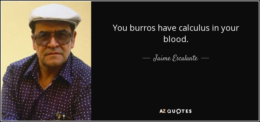 You burros have calculus in your blood. - Jaime Escalante