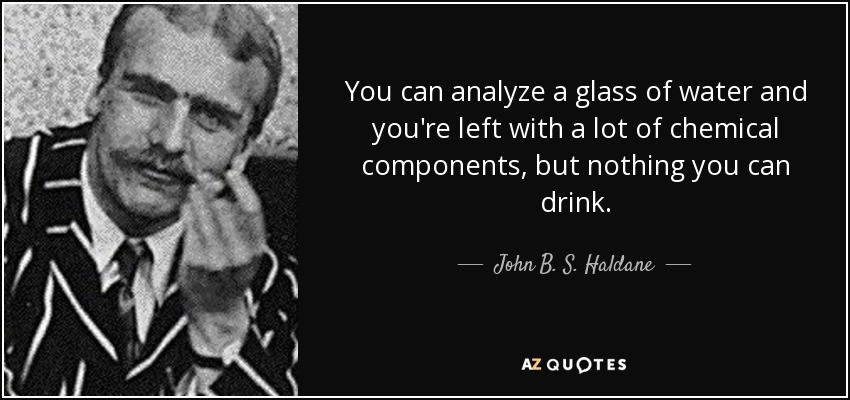 You can analyze a glass of water and you're left with a lot of chemical components, but nothing you can drink. - John B. S. Haldane