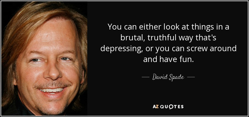 You can either look at things in a brutal, truthful way that's depressing, or you can screw around and have fun. - David Spade