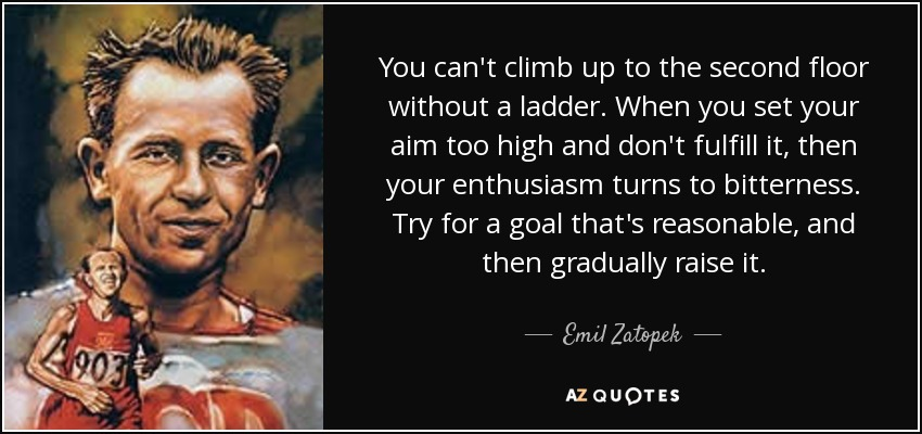 You can't climb up to the second floor without a ladder. When you set your aim too high and don't fulfill it, then your enthusiasm turns to bitterness. Try for a goal that's reasonable, and then gradually raise it. - Emil Zatopek