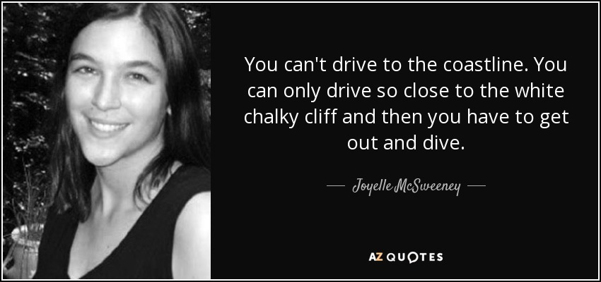 You can't drive to the coastline. You can only drive so close to the white chalky cliff and then you have to get out and dive. - Joyelle McSweeney