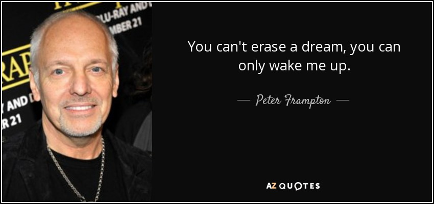 You can't erase a dream, you can only wake me up. - Peter Frampton