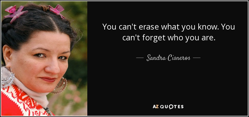 You can't erase what you know. You can't forget who you are. - Sandra Cisneros