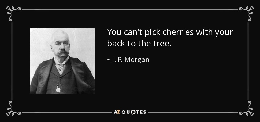 You can't pick cherries with your back to the tree. - J. P. Morgan