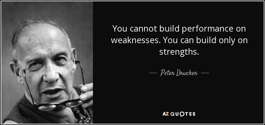 You cannot build performance on weaknesses. You can build only on strengths. - Peter Drucker