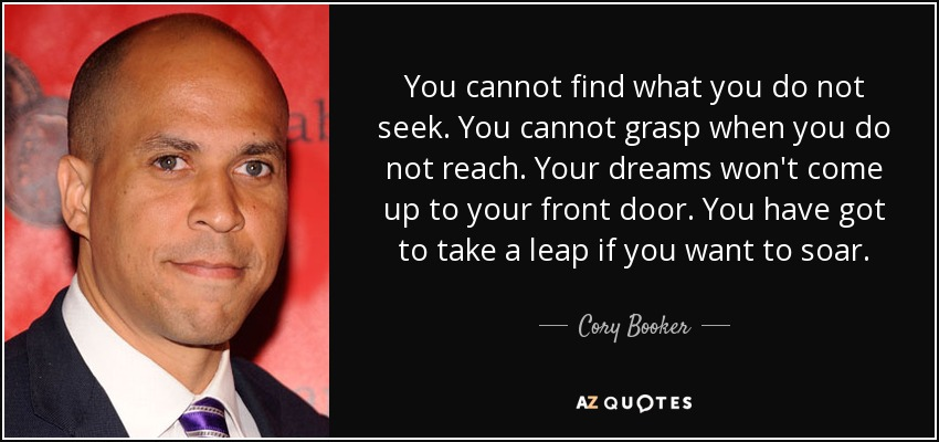You cannot find what you do not seek. You cannot grasp when you do not reach. Your dreams won't come up to your front door. You have got to take a leap if you want to soar. - Cory Booker