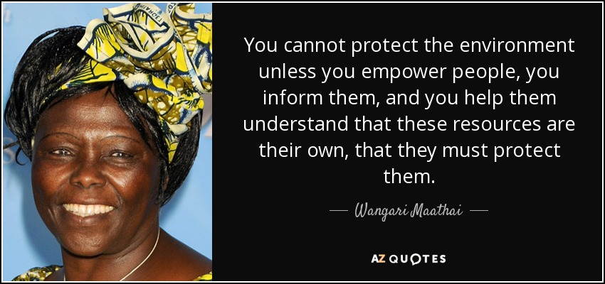 You cannot protect the environment unless you empower people, you inform them, and you help them understand that these resources are their own, that they must protect them. - Wangari Maathai