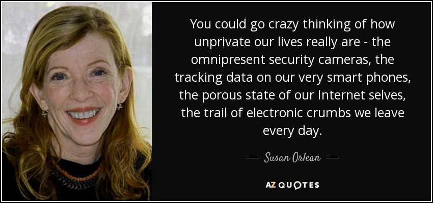 You could go crazy thinking of how unprivate our lives really are - the omnipresent security cameras, the tracking data on our very smart phones, the porous state of our Internet selves, the trail of electronic crumbs we leave every day. - Susan Orlean