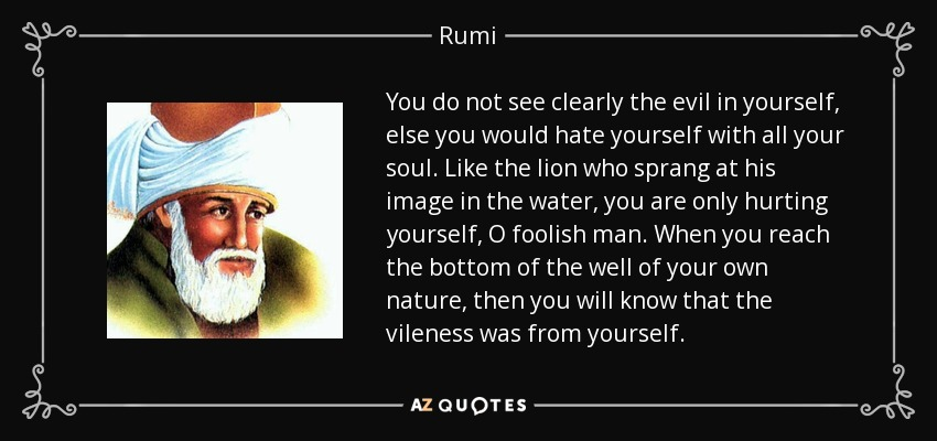 You do not see clearly the evil in yourself, else you would hate yourself with all your soul. Like the lion who sprang at his image in the water, you are only hurting yourself, O foolish man. When you reach the bottom of the well of your own nature, then you will know that the vileness was from yourself. - Rumi