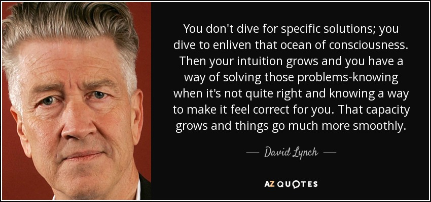 You don't dive for specific solutions; you dive to enliven that ocean of consciousness. Then your intuition grows and you have a way of solving those problems-knowing when it's not quite right and knowing a way to make it feel correct for you. That capacity grows and things go much more smoothly. - David Lynch