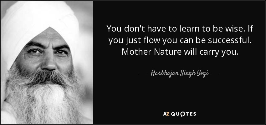You don't have to learn to be wise. If you just flow you can be successful. Mother Nature will carry you. - Harbhajan Singh Yogi