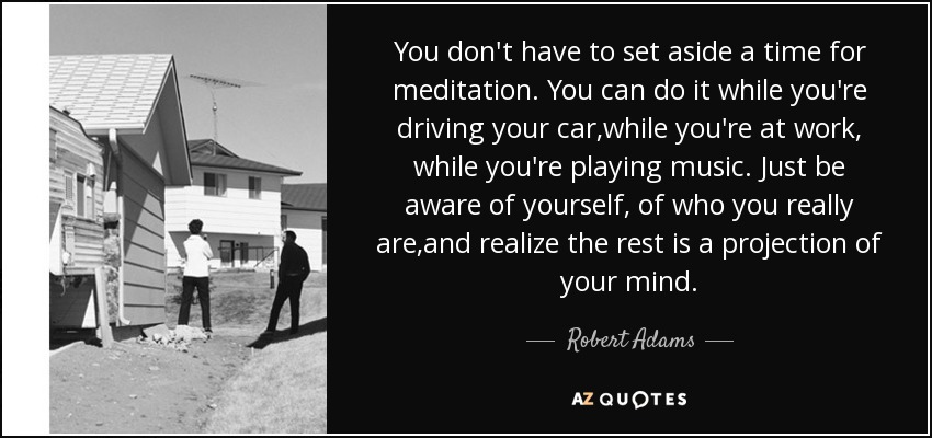 You don't have to set aside a time for meditation. You can do it while you're driving your car,while you're at work, while you're playing music. Just be aware of yourself, of who you really are,and realize the rest is a projection of your mind. - Robert Adams