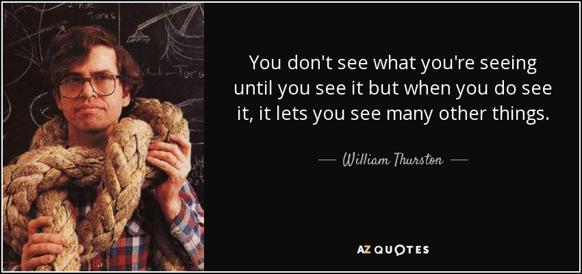 You don't see what you're seeing until you see it but when you do see it, it lets you see many other things. - William Thurston