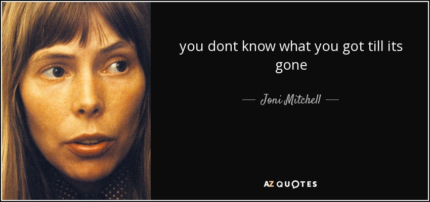 you dont know what you got till its gone - Joni Mitchell