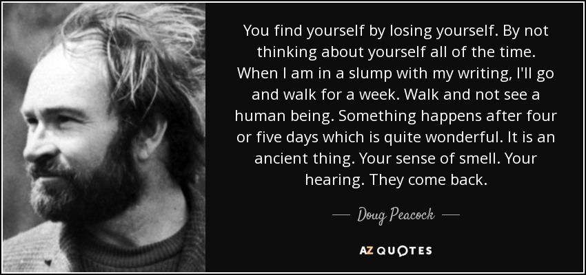 Doug Peacock Quote You Find Yourself By Losing Yourself By Not