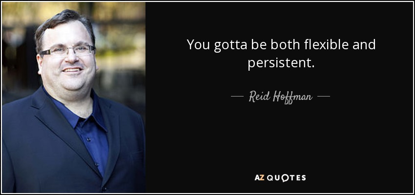 You gotta be both flexible and persistent. - Reid Hoffman