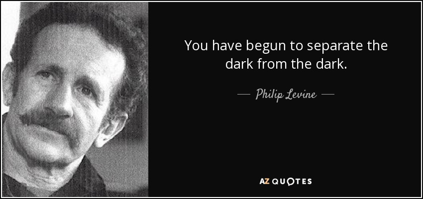 You have begun to separate the dark from the dark. - Philip Levine
