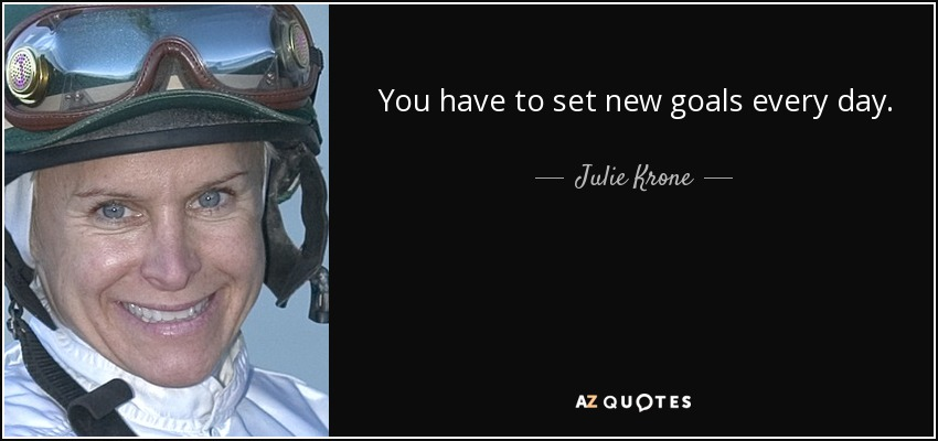 You have to set new goals every day. - Julie Krone