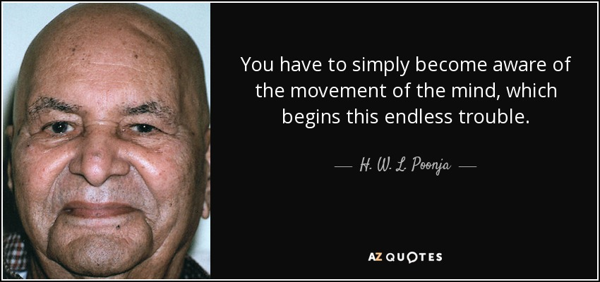 You have to simply become aware of the movement of the mind, which begins this endless trouble. - H. W. L. Poonja