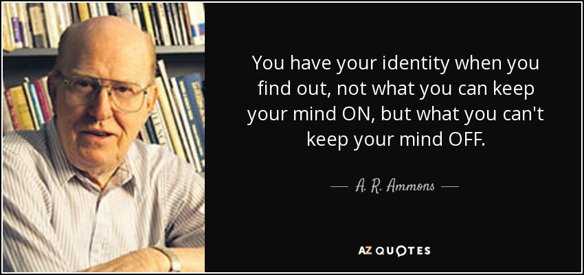 You have your identity when you find out, not what you can keep your mind ON, but what you can't keep your mind OFF. - A. R. Ammons