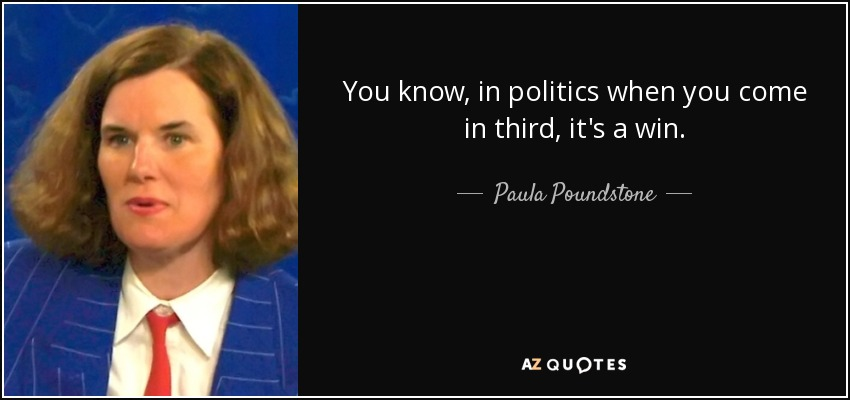 You know, in politics when you come in third, it's a win. - Paula Poundstone