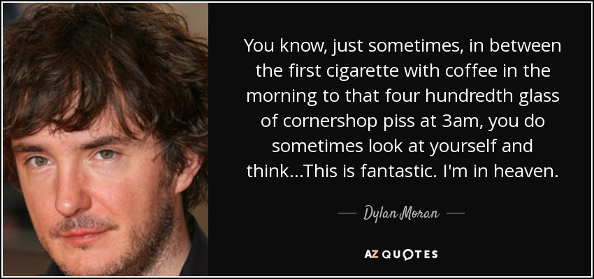 You know, just sometimes, in between the first cigarette with coffee in the morning to that four hundredth glass of cornershop piss at 3am, you do sometimes look at yourself and think...This is fantastic. I'm in heaven. - Dylan Moran