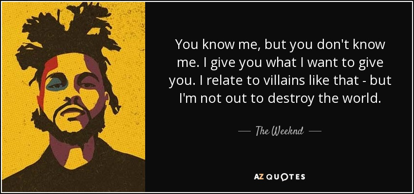 The Weeknd Quote You Know Me But You Dont Know Me I Give