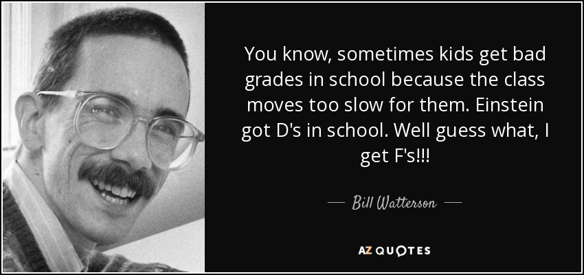 You know, sometimes kids get bad grades in school because the class moves too slow for them. Einstein got D's in school. Well guess what, I get F's!!! - Bill Watterson