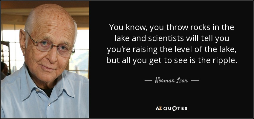 You know, you throw rocks in the lake and scientists will tell you you're raising the level of the lake, but all you get to see is the ripple. - Norman Lear