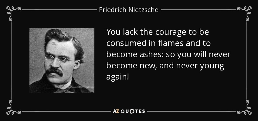 You lack the courage to be consumed in flames and to become ashes: so you will never become new, and never young again! - Friedrich Nietzsche