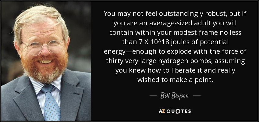 You may not feel outstandingly robust, but if you are an average-sized adult you will contain within your modest frame no less than 7 X 10^18 joules of potential energy—enough to explode with the force of thirty very large hydrogen bombs, assuming you knew how to liberate it and really wished to make a point. - Bill Bryson