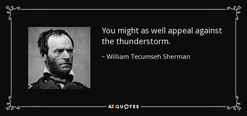 You might as well appeal against the thunderstorm. - William Tecumseh Sherman