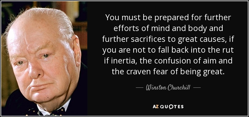 You must be prepared for further efforts of mind and body and further sacrifices to great causes, if you are not to fall back into the rut if inertia, the confusion of aim and the craven fear of being great. - Winston Churchill