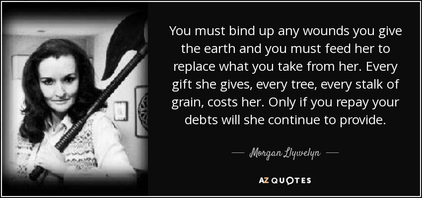 You must bind up any wounds you give the earth and you must feed her to replace what you take from her. Every gift she gives, every tree, every stalk of grain, costs her. Only if you repay your debts will she continue to provide. - Morgan Llywelyn
