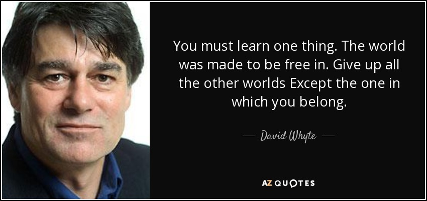 You must learn one thing. The world was made to be free in. Give up all the other worlds Except the one in which you belong. - David Whyte