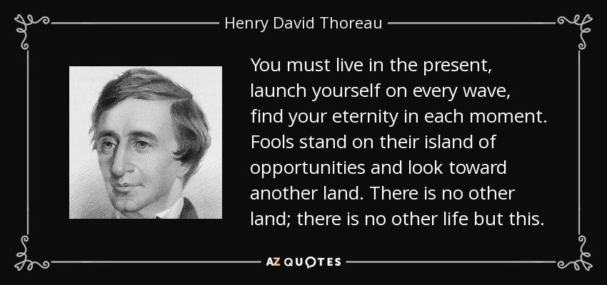 You must live in the present, launch yourself on every wave, find your eternity in each moment. Fools stand on their island of opportunities and look toward another land. There is no other land; there is no other life but this. - Henry David Thoreau