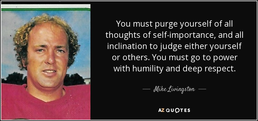 You must purge yourself of all thoughts of self-importance, and all inclination to judge either yourself or others. You must go to power with humility and deep respect. - Mike Livingston