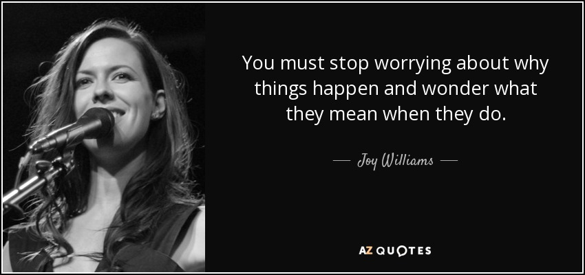 You must stop worrying about why things happen and wonder what they mean when they do. - Joy Williams