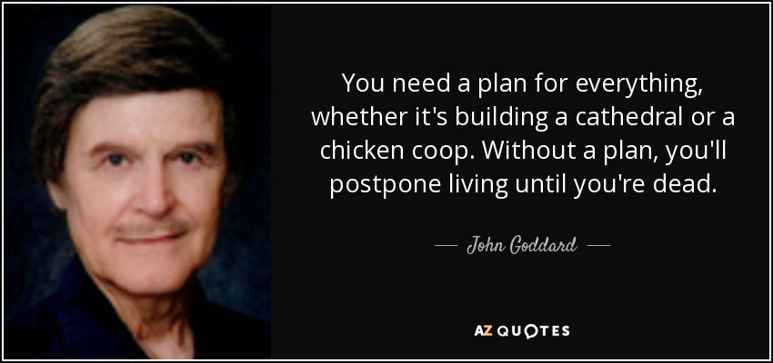 You need a plan for everything, whether it's building a cathedral or a chicken coop. Without a plan, you'll postpone living until you're dead. - John Goddard