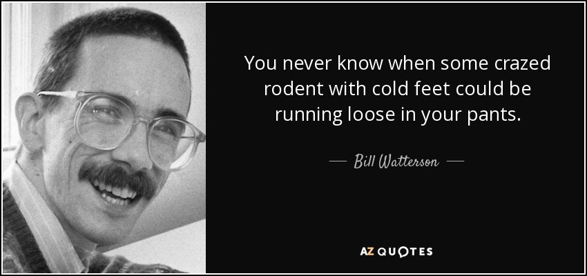 You never know when some crazed rodent with cold feet could be running loose in your pants. - Bill Watterson