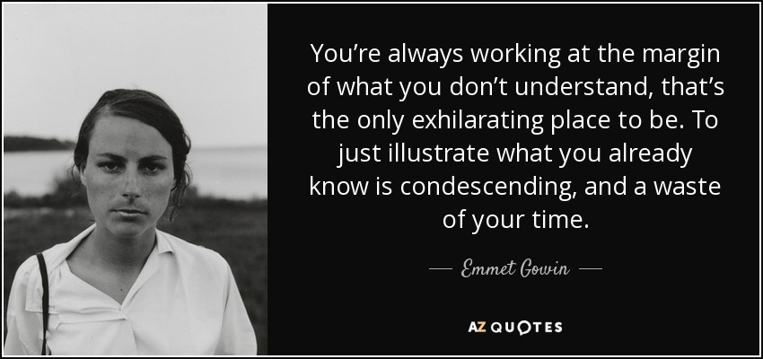 You're always working at the margin of what you don't understand, that's the only exhilarating place to be. To just illustrate what you already know is condescending, and a waste of your time. - Emmet Gowin