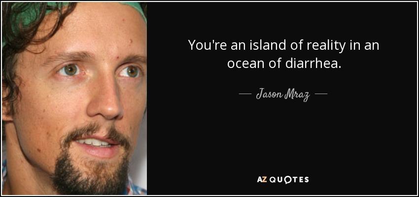 You're an island of reality in an ocean of diarrhea. - Jason Mraz