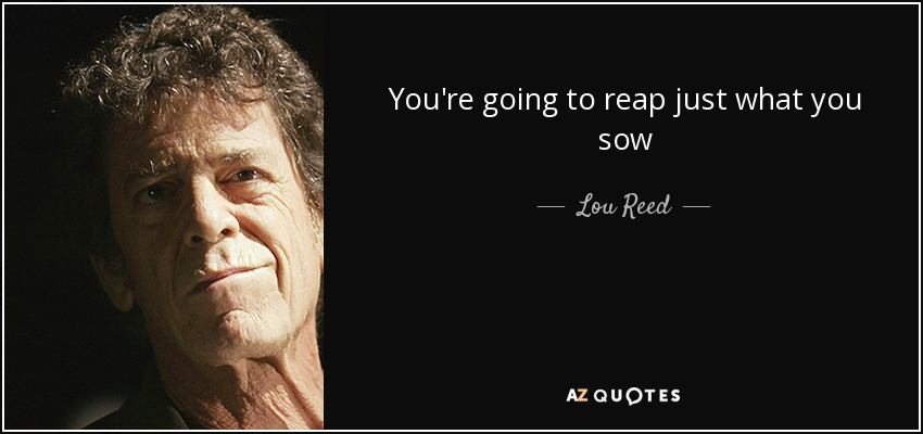 You're going to reap just what you sow - Lou Reed