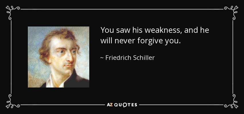 Friedrich Schiller Quote You Saw His Weakness And He Will Never
