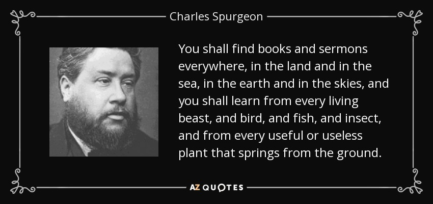 You shall find books and sermons everywhere, in the land and in the sea, in the earth and in the skies, and you shall learn from every living beast, and bird, and fish, and insect, and from every useful or useless plant that springs from the ground. - Charles Spurgeon