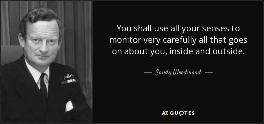 You shall use all your senses to monitor very carefully all that goes on about you, inside and outside. - Sandy Woodward