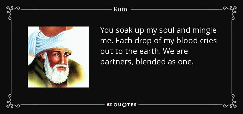 You soak up my soul and mingle me. Each drop of my blood cries out to the earth. We are partners, blended as one. - Rumi