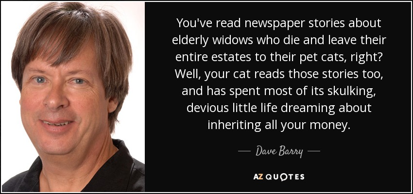 You've read newspaper stories about elderly widows who die and leave their entire estates to their pet cats, right? Well, your cat reads those stories too, and has spent most of its skulking, devious little life dreaming about inheriting all your money. - Dave Barry